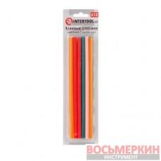 Комплект цветных клеевых стержней 7.4 мм х 200 мм 12 штук RT-1032 Intertool