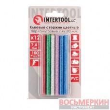 Комплект цветных перламутровых клеевых стержней 7.4 мм х 100 мм 12 штук RT-1033 Intertool