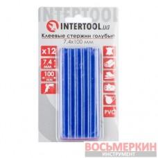 Комплект голубых клеевых стержней 7.4 мм х 100 мм 12 штук RT-1054 Intertool