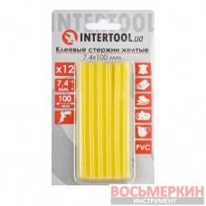 Комплект желтых клеевых стержней 7.4 мм х 100 мм 12 штук RT-1050 Intertool