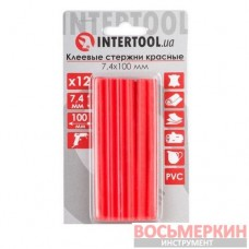 Комплект красных клеевых стержней 7.4 мм х 100 мм 12 штук RT-1043 Intertool