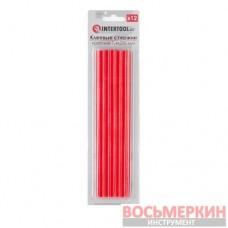 Комплект красных клеевых стержней 7.4 мм х 200 мм 12 штук RT-1044 Intertool