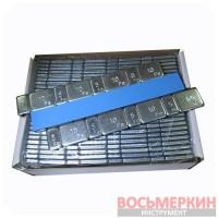 Груз самоклеящийся низкий 4 х 10 г + 4 х 5 г металл голубая лента