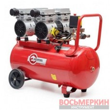 Компрессор 50л 2х1.5 HP 2х1.1кВт 220В 8атм 270л/мин малошумный безмасляный 4 цилиндра PT-0023 Intertool