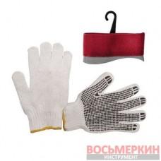Перчатка хлопчатобумажная трикотаж с покрытием белая SP-0005 Intertool