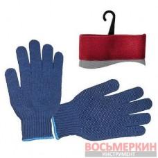 Перчатка трикотажная синтетическая с покрытием на ладони 24,5 см синяя SP-0104 Intertool
