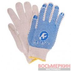 Перчатка хлопчатобумажная трикотажная с резиновым вкраплением с одной стороны ПВХ синяя SP-0134 Intertool