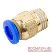 Соединитель быстроразьемный наружная резьба 1/4 - пластиковый шланг 10 мм SPC10-02 Airkraft