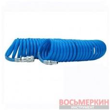 Шланг воздушный ПВХ спиральный с быстроразъемным соединением 6,5x10мм, 10м PT-1711 Intertool