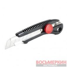 Нож с металлической направляющей под лезвие 18мм с винтовым фиксатором HT-0502 Intertool