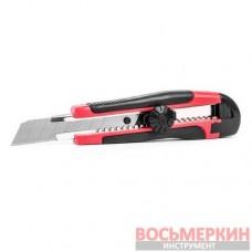 Нож с металлической направляющей под лезвие 18мм с обрезиненной рукояткой HT-0503 Intertool