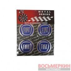 Эмблемы металлические на колпаки Fiat синий 4 шт в комплекте цена за комплект
