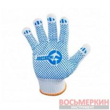 Перчатка трикотажная цвет белый с плакировкой SP-0130 Intertool