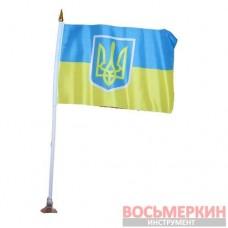 Сувенир Флажок Украина с гербом двухсторонний длина 32 см с присоской