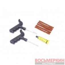 Набор инструментов для ремонта шин 8 предметов шило-крупная спираль протяжка шнуры клей в блистере KT-904T8С Kingtul