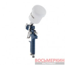 Краскопульт пневматический HVLP MINI форсунка 1.0 мм верхний пластиковый бачок 125 мл 3 бар PT-0121 Intertool