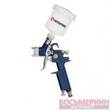 Краскопульт пневматический HVLP MINI форсунка 1.2 мм верхний пластиковый бачок 125 мл 3 бар PT-0122 Intertool