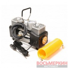 Компрессор поршневой автомобильный двухцилиндровый с фонарем в пластиковом кейсе 65 л/мин 23А 12V F-2014360 Forsage