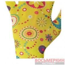 Перчатки садовые с нитриловым покрытием 8 желтые SP-0165 Intertool