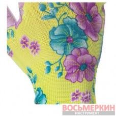 Перчатки садовые с полиуретановым покрытием 8 зеленые SP-0161 Intertool