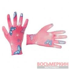 Перчатки садовые с полиуретановым покрытием 8 розовые SP-0162 Intertool