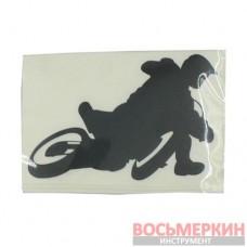 Наклейка Мотоциклист черная 10 см х 7 см