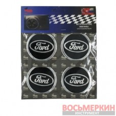 Эмблемы металлические на колпаки Ford черный 4 шт в комплекте цена за комплект