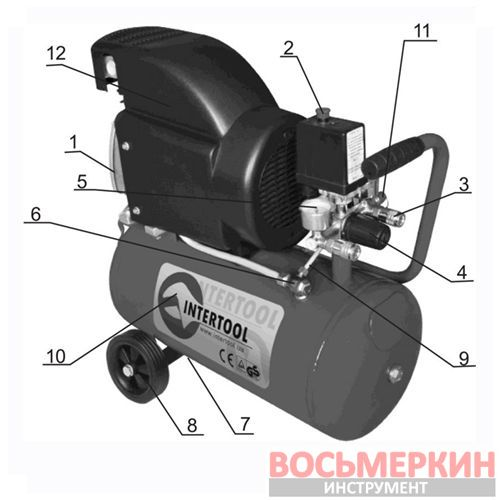 Компрессор 24 л 8атм 205л/мин 220В Минск-24 PT-0020 Intertool 1.5кВт 2.0HP