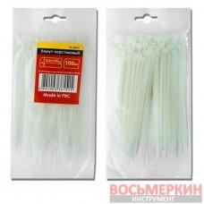 Хомут пластиковый 3,6x300мм, (100 шт/упак), белый TC-3630 Intertool