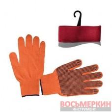 Перчатка хлопчатобумажная трикототаж с PVC оранжевая 240пар в ящике SP-0131W Intertool цена за ящик