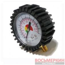 Манометр к пистолету для подкачки с резиновым покрытием диаметр, 63мм, NPTF 1/8 PT-0502 Intertool