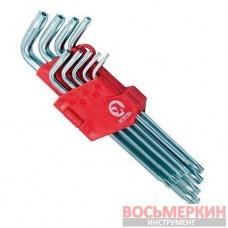 Набор Г-обр. ключей TORX с отверстием 9шт Т10-Т50 Cr-V Big HT-0606 Intertool