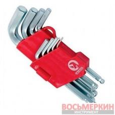 Набор Г-обр. 6-гр. ключ., шарообр наконеч., 9 ед.,1.5-10 мм,Cr-V, 55 H HT-0605 Intertool