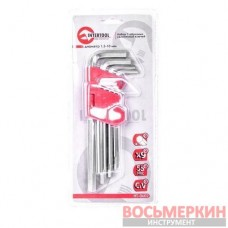 Набор Г-обр. 6-гр. удл. ключей 9 ед., 1.5-10 мм, Cr-V, 55 HRC HT-0602 Intertool