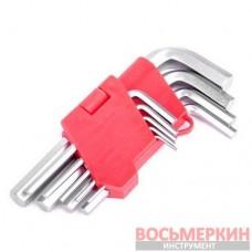 Набор Г-образных шестигранных ключей 9шт., 1.5-10мм, Cr-V HT-0601 Intertool