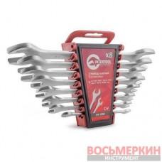 Набор рожковых ключей 8 единиц от 6 мм до 22 мм CrV HT-1002 Intertool